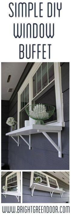 Build a Window Serving Buffet DIY Window Bar http://www.BrightGreenDoor.com