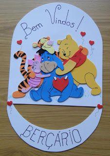 Placa de Porta Ursinho Pooh, em EVA