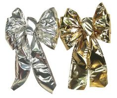 """""""HOLIDAY TRIM"""" SATIN EMBOSSED BOW ASSORTMENT * Assortment includes: 6 gold and 6 silver. Christmas Tree Bows, Xmas Ornaments, Xmas Tree, Xmas Decorations, Satin, Holiday, Silver, Gold, Christmas Ornaments"""