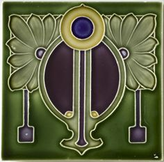 I see a bit of 'deco' appearing in this Art Nouveau tile. Antique Tiles, Vintage Tile, Vintage Art, Art Nouveau Tiles, Art Nouveau Design, Arts And Crafts Movement, Design Crafts, Design Art, Set Design