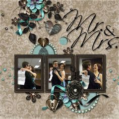 Mr. & Mrs. Wedding Premade Digital Scrapbook Page - ONE-OF-A-KIND. $5.00, via Etsy.