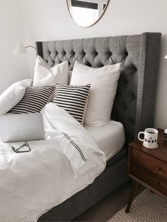 Grey Tufted Headboard