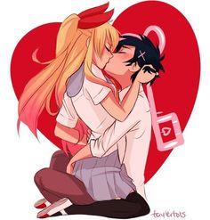 Raku x Chitoge Nisekoi! Anime Comics, Art Anime, Manga Anime, Awesome Anime, Anime Love, Renders Anime, Manga Couple, Image Manga, Cute Anime Couples
