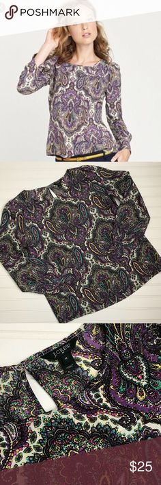 J. Crew Factory purple paisley top Perfect J. Crew Factory purple paisley top. Really pretty! EUC. No flaws that I can see. 100% polyester. Size medium. J. Crew Tops Blouses