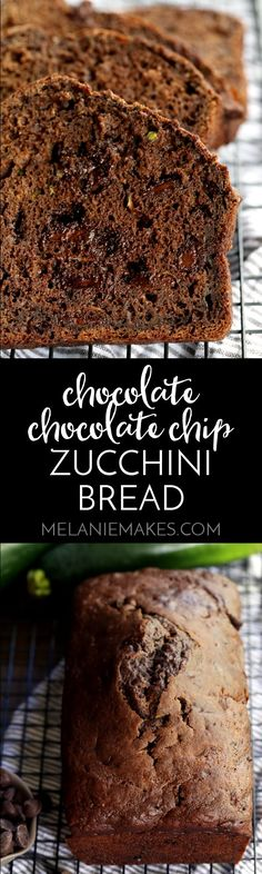 This Chocolate Chocolate Chip Zucchini Bread is studded with chocolate chips and shredded zucchini and is nothing like you've ever tasted. The zucchini lends such moistness to the bread and the chocolate? Let's just say this bread won't last for long at your house!
