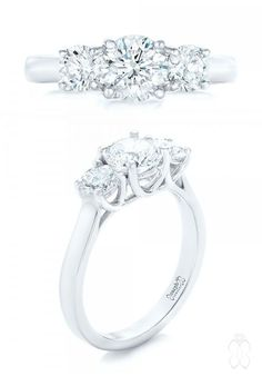 Joseph Jewelry Custom Three Stone Diamond Engagement Ring #JosephJewelry
