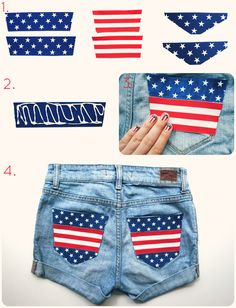 4th of july shorts - Love these, so many possibilities with ribbon