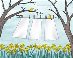spring clean - signed digital illustration art print 8X10 inches by Sarah Knight, clothesline laundry art daffodils yellow birds