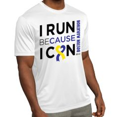 "Men's and Women's Shirt Sizes: Support those affected by the tragedy at the Boston Marathon by purchasing this Racer Tee with ""I Run BeCause I Can 