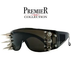 4fbc8b0a58 Premier Collection-Ultimate Punk Rocker Oversize Spiked Shield Sunglasses