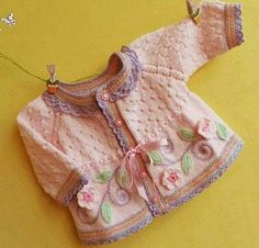 Embroidered Baby Vest Making - Babykleidung Baby Knitting Patterns, Crochet Baby Dress Pattern, Baby Dress Patterns, Knitting For Kids, Knitting For Beginners, Knitting Designs, Knit Crochet, Knitted Baby Cardigan, Baby Kind