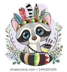 Cute Cartoon Raccoon with feathers on a purple background Cute Illustration, Watercolor Illustration, Decoration Creche, Stitch Games, Owl Vector, Halloween Cartoons, Cute Dragons, Printable Designs, Blue Backgrounds