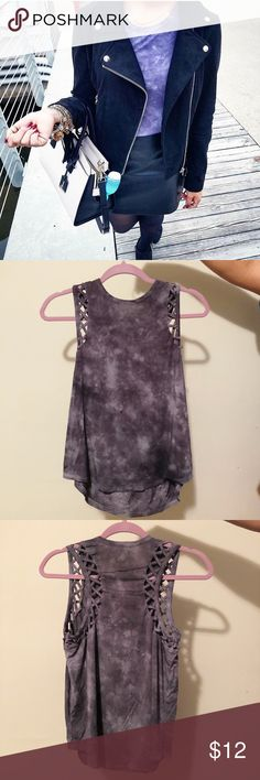 American Eagle Outfitters purple tie dye tank AEO 🦅 Purple Tie-Dye Flowy Tank. 🦅 💋 Super flattering and flowy, comfy cotton material and machine washable.  💋 Great for layering or wearing alone in spring/ summer!! 👌🏽🌞 🍃🌸 💋 Has cross detailing on shoulders and features an all-around tie-dye.                                                            💋 Only worn once!! Great condition!                                💋 Fringe jacket sold separately (see other listing!)  💋 No trades…