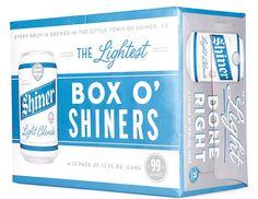 Shiner Light Blonde beer can case designed by McGarrah Jessee.