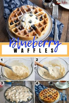Breakfast Recipes A delicious breakfast, bursting with juicy blueberries – these easy Blueberry Waffles will delight the whole family! They're light, fluffy and golden brown! Blueberry Waffles, Blueberry Recipes, Banana Waffles, Healthy Waffles, Blueberry Breakfast, Easy Waffle Recipe, Waffle Maker Recipes, Breakfast Hotel, Breakfast Dishes