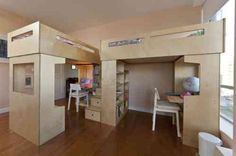dual loft beds | Dividing one room into two | Pinterest