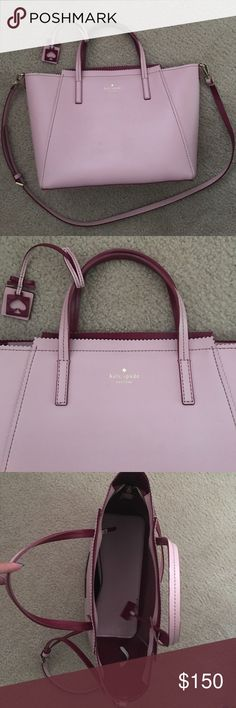 Pink Kate Spade Crossbody About the size of MacBook 13'. Good condition and barely used, just stains from piling purses on top of each other in my room. Open to reasonable offers! kate spade Bags Crossbody Bags