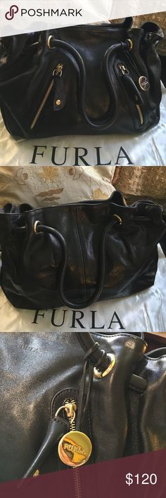 "Furla Leather Satchel Handbag Luxuriously gorgeous Furla buttery soft leather bag. What a beautiful designer bag! Furla's signature half gold ball hanging from the strap, two zippered pockets in the front, metal bottom feet, inside zippered pocket and one slip pocket, magnetic snap closure. 17"" length, 12"" height, 6"" depth, 6"" shoulder drop. Classic, you won't be disappointed. Furla Bags Satchels"