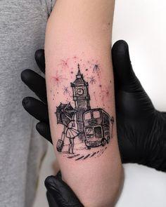 Tatuagem criada por Rob Carvalho de São Paulo. Londes com fogos de ano novo, em preto e cinza super delicado.