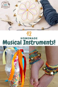 Homemade musical instruments that are so easy even preschoolers can make them! These DIY insturments are perfect for kids to make on a rainy day. There are some super unique ideas here as well as some that are nice and simple and use regualr household materials. Preschool Arts And Crafts, Easy Arts And Crafts, Crafts For Kids To Make, Arts And Crafts Projects, Homemade Musical Instruments, Kids Learning Activities, Musicals, Household, Nice