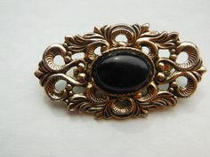 Vintage 1980s Victorian Style Gold Tone Brooch with Black Stone by WhimsicalFig on Etsy