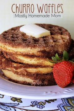 Churro Waffles!! www.mostlyhomemademom.com #frozenwaffles #breakfastrecipes #cinnamon