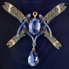 ca. 1920's Art Nouveau Jewelled Dragonfly Brooch By Rene Lalique