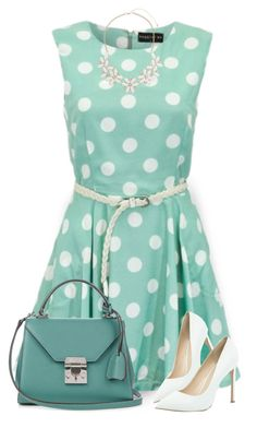 """""""Polka Dot Dress"""" by daiscat ❤ liked on Polyvore featuring Maggie and Me, Mark Cross, River Island and Dorothy Perkins"""