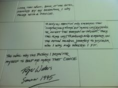 Lyrics on original stage set for Pink Floyd's The Wall tour at Rock and Roll Hall of Fame, Cleveland, Ohio