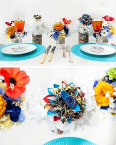 Take note from these amazing comic book tins from a Coocouture shoot – they've been finished off with intricate origami flowers which add a flash of cool colour #superherowedding