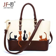 74dd0b9cbe9f JF-U Printing Women Bags Handbags Pu Leather Luxury Flower Lady s Shoulder  Bags Women Handbag