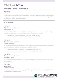 Free 'Subtle' CV template in MS Word to download - CV Template Master