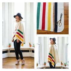 Do you have a favorite blanket that& outlived its usefulness as a throw? Heres how to make a poncho from it! Recycled Blankets, Blanket Poncho, Sewing School, Crochet Poncho, Crochet Blankets, Sewing Projects For Kids, Sewing Tutorials, Sewing Tips, Sewing Ideas