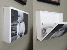 Use a plastic VHS case as a picture frame with a hidden storage compartment!