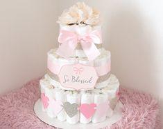 Glitter Oro y rosa pastel de pañal para bebé / hermosa bebé ducha central / guirnalda del corazón / flor elegante princesa / de regalo / Tul