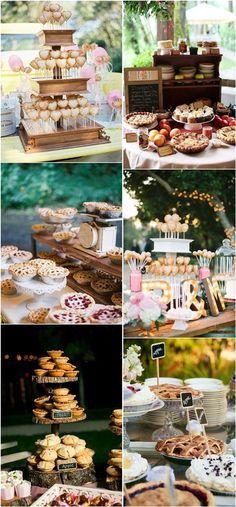 pie wedding dessert table ideas- rustic country wedding ideas / http://www.deerpearlflowers.com/rustic-pie-wedding-dessert-ideas/3/