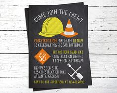 Construction Invitation. Construction Birthday Invitation. Construction Party. Construction Birthday. Dump Everything. Chalkboard Invite.