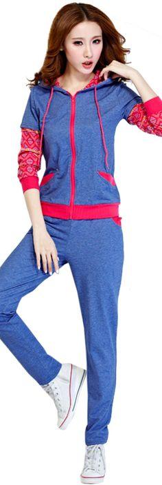 Women-Long-Sleeve-Hooded-Full-Zipper-Patchwork-Sweatshirt-Pants-Sportswear