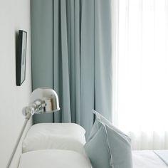 Plain duck egg blue voile net curtain panel 59x48 inches
