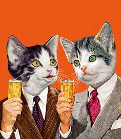 Two Cat Businessmen Holding Drinks   CSA