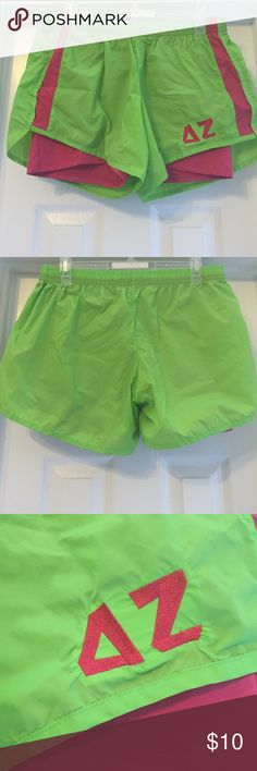 NWOT Delta Zeta Sorority shorts Not Nike only tagged for exposure. Brand is Boxercraft size L lined running shorts. Cute embroidered DZ. Nike Shorts