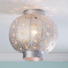Pierced Moroccan Metal Globe Ceiling Light