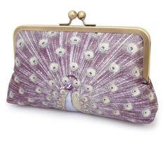 Clutch bag silk purse peacock feathers bridesmaid by redrubyrose, $85.00
