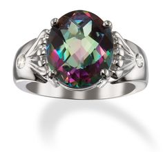 mystic topaz and diamond 14k white gold ring