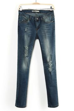$36.99 Street Fashion Bleached Distressed Jeans