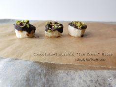 Chocolate-Pistchio Ice Cream Bites via www.simplyrealhealth.com