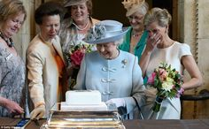 As Sophie Wessex laughed and the Queen smiled, Anne proceeded to show how cake cutting is done - 4th June 2015