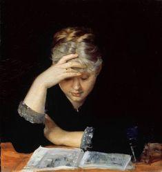 Marie Bashkirtseff, At a Book (1882). (1858-1884) Peintre et sculpteure d'origine ukrainienne, elle a tenu son journal de l'âge de 15 ans. Formée à l'Académie Julian (France), l'une des rares en Europe à accepter les femmes, elle a produit une oeuvre importante en regard de sa vie brève. Beaucoup de ses tableaux ont été détruits par les Nazis durant la Seconde Guerre mondiale.