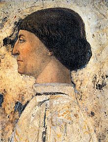 Piero della Francesca -Sigismondo Pandolfo Malatesta in preghiera davanti a san Sigismondo - dettaglio Sigismondo Pandolfo Malatesta