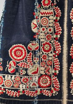 Apron. 19th century, Czech cotton, wool, silk details
